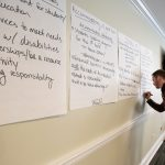 man using a marker to write on a giant post-it note positioned on the wall